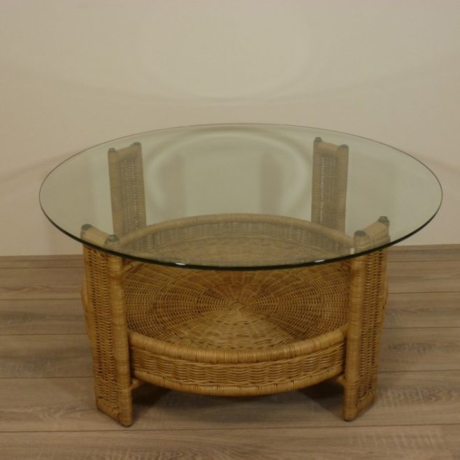 Salontafel Riet Met Glas.Amazone 90 Of 100 Cm Rotan Salontafels