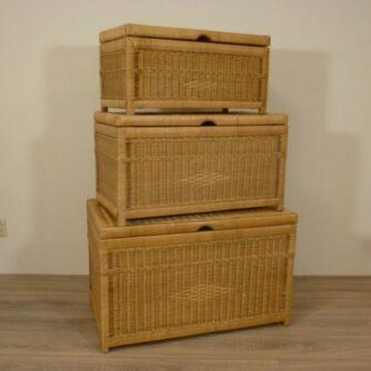 Kisten Honingkleur Set Rieten Kisten Rotan manden