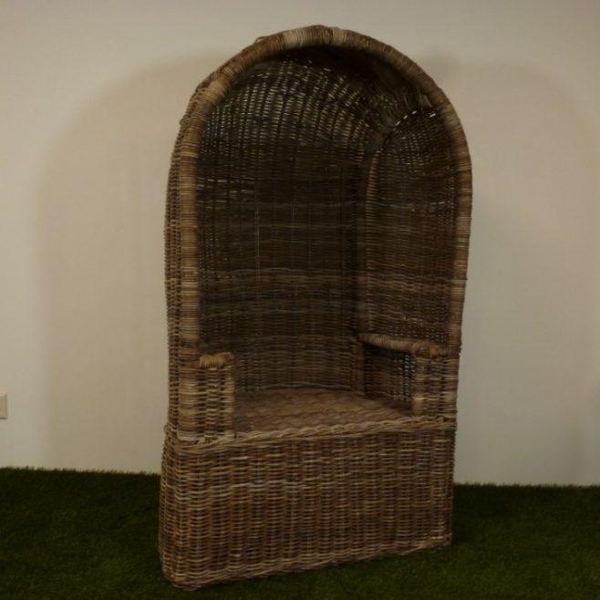 Ouderwetse Rieten Strandstoel.Rieten Strandstoel Kubu Grey Rotan