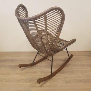 Bergamo Retro Rotan Schommelstoel Riet Spijlen Egg Chair