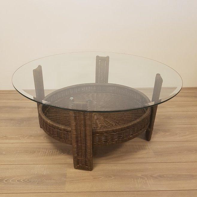 Tafel Rond 90 Cm.Amazone 90 Of 100 Cm Rotan Salontafels Darkbrown Rotanspeciaalzaak Nl